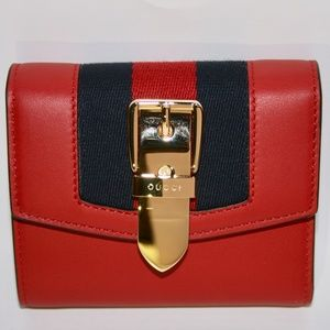 Gucci Navy Blue/Red Web Sylvie Trifold Wallet